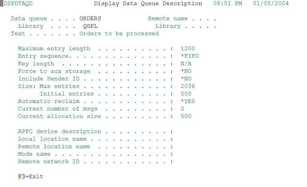 Display Data Queue Description