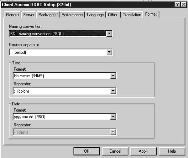 Configuring client access odbc.