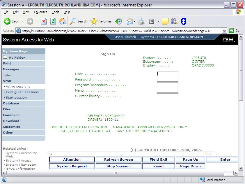 System i Access for Web: A Closer Look at 5250