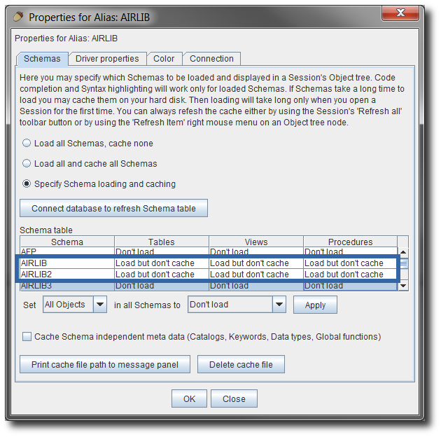 Library Lists, Schemas, and Other Properties in SQuirreL SQL Client