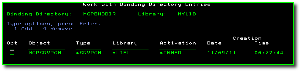 Using Binding Directories with Your Service Programs