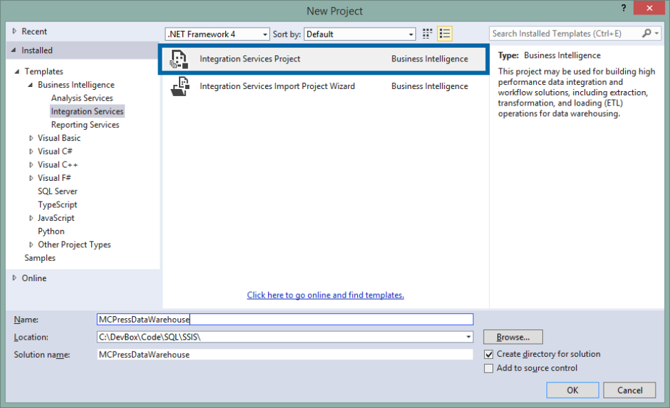 Create Ssis Package In Visual Studio 2015 Step By Step